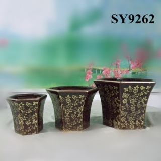 Sexangle hotel glazed ceramic outdoor pot