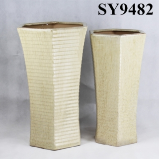 Tall yellow glazed garden decoration flower pot