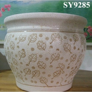 Round white ceramic door way flower pot
