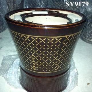 Pot for flower glazed ceramic door flower pot