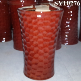 Decorative red glazed big pot