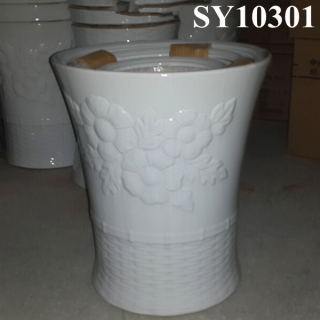 Glazed white ceramic big flower pot