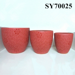 Red ceramic decorative indoor flower pots