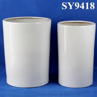 Decoration white round cylinder flower pot