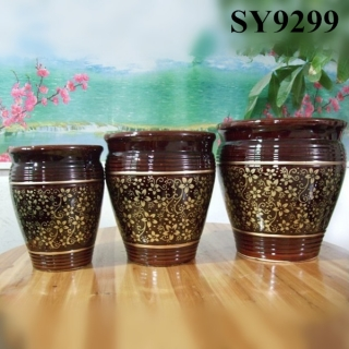 The newest design of flower pot printing decoration ceramic planter pot