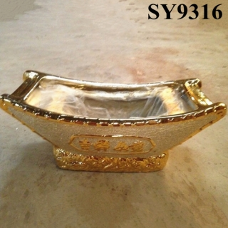 Golden ceramic wider decoration flower pot