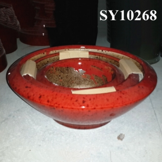 Hotsale product red glazed decorative ceramic planter