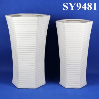 Tall polygon shape white decoration pot