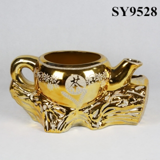 galvanized ceramic decoration tea flower pot