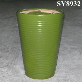 Ceramic round green flower pot
