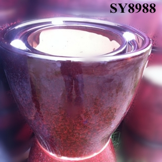 Agated red glazed ceramic flower pot
