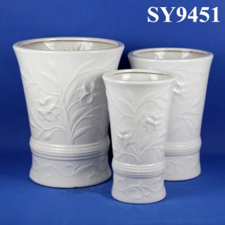 Carving mould white planter pot wholesale