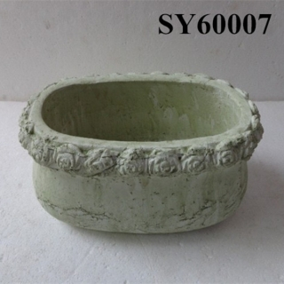 Pot for plant oval terracotta cement finished decoration flowerpot
