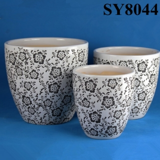Flower pattern printing design glazed ceramic flowerpot