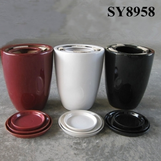 Set of 3 pots color porcelain ceramic indoor plant pot