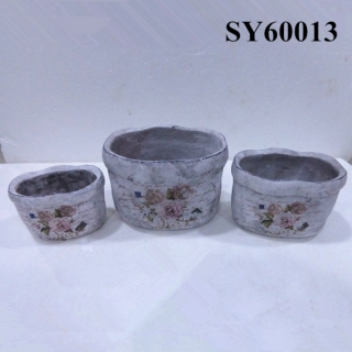 Oval decal cement finished decoration flowerpots