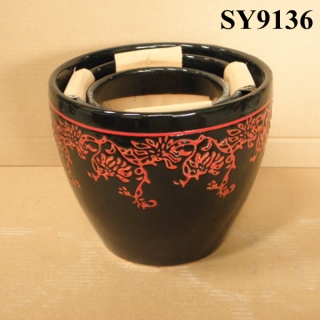 Pot for plant black and red printing ceramic decoration pot