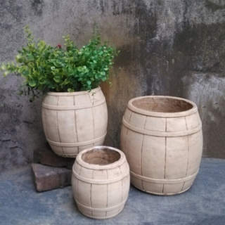 new products 2015 cement pots garden decoration wood cement pots