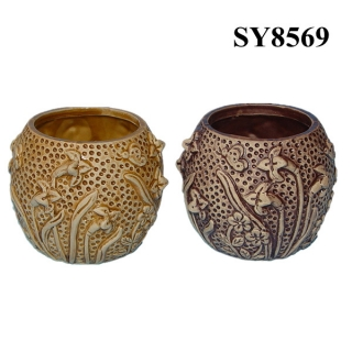 Lily flower carving clay flower pot wholesale