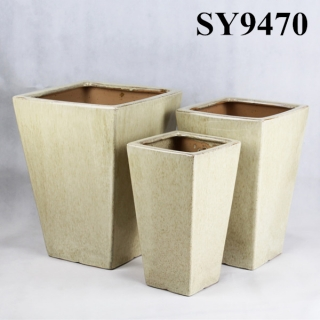 Light yellow Squared glazed outdoor decoration flower pot
