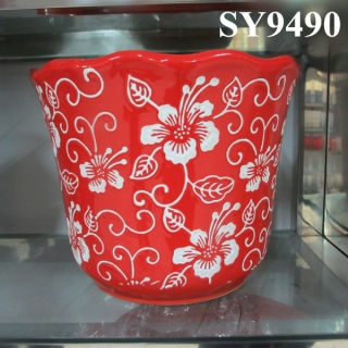 Chinese new year red ceramic decoration flower pot