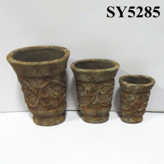 Rust carving rattan tall clay pots