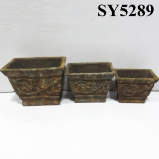 Hot new design flower pot for sale rectangular antique clay flower pot
