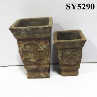 Tall antique brass planter pot