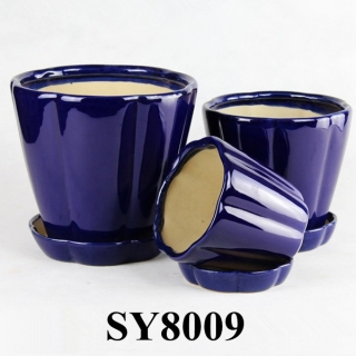 With saucer royalblue ceramic glazed flower pots