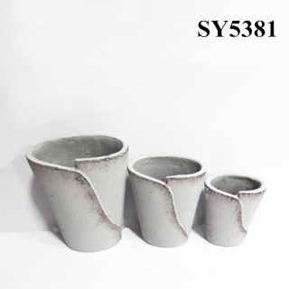 Round cement finished flower pot wholesale