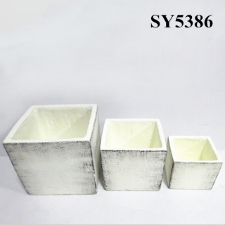 Squared cement finished decoration wholesale pot