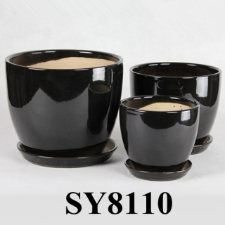 With saucer newest product black small porcelain flower pot
