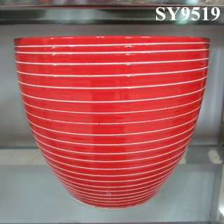circle line printing red planter pot wholesale