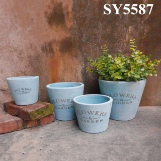Round cement garden flower pot