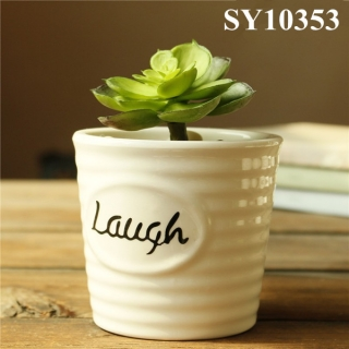 White printing words ceramic desk flower pot
