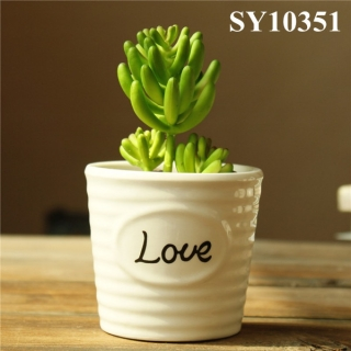 White small ceramic flower pot