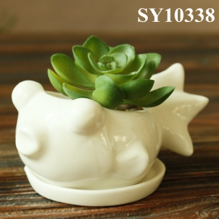 White mini fish shaped ceramic planter pot