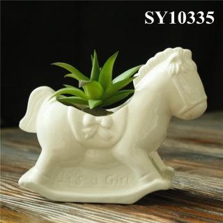 ceramic white wooden horse cute planters