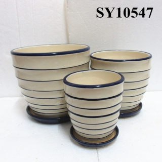 Simple color ceramic indoor and outdoor pots