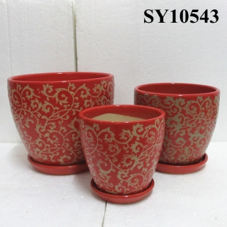 Ceramic printing red pots planters