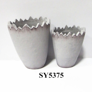 Bend top cement flower pot wholesale
