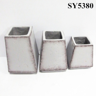 Squared cement finished decoration planter pot