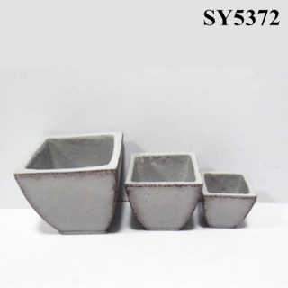 Squared top cement planter pot wholesale pot