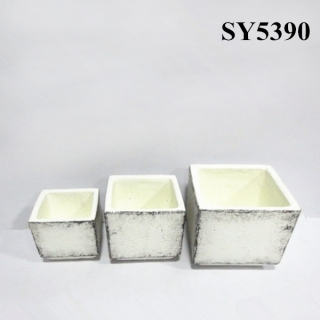 Cement white clay decoration pot