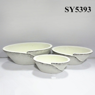 Oval white clay decoration wholesale pot