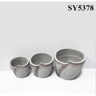 Novel design cement finished decoration pot