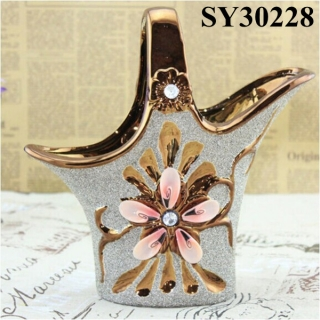Flower basket shape gold porcelain vase