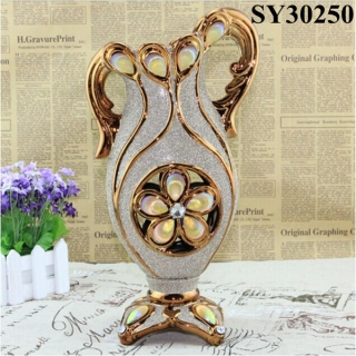 With golden flower ceramic decorative vase