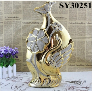 Elegant gold plating ceramic flower vase
