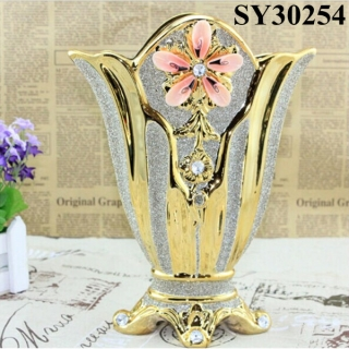 Gold galvanized ceramic decorative indoor vases